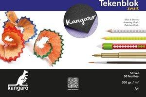 Kangaro Tekenblok A4 (210x297mm) 300gr/50vel - zwart