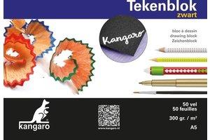 Kangaro Tekenblok A5 (148x210mm) 300gr/50vel - zwart