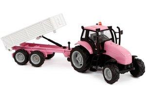 Tractor met aanhanger met licht/geluid - roze