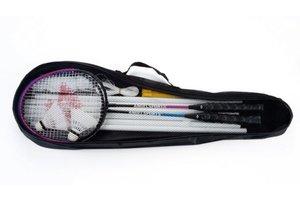 Angel Badmintonset (4 spelers) 2 shuttles en uitschuifbare poles in tas met rits