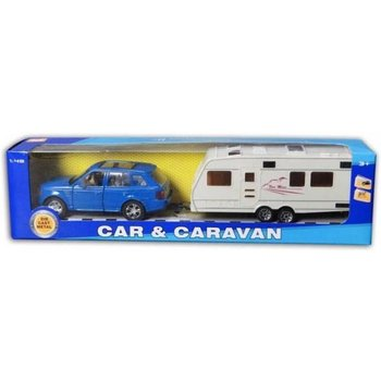 Auto met caravan 30cm pull-back