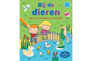 Deltas Kleur- en stickerboek met woordjes - Bij de dieren (3-5jaar)
