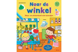 Deltas Kleur- en stickerboek met woordjes - Naar de winkel (3-5jaar)