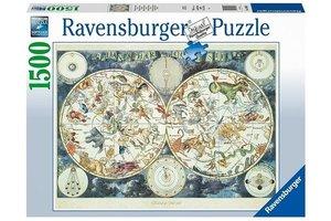 Ravensburger Puzzel (1500stuks) - Wereldkaart met fantasierijke dieren