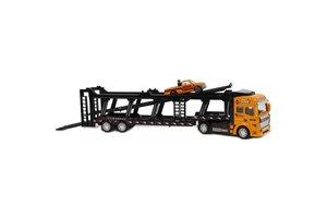 Pull-back Vrachtwagen autotransporter en auto - 32cm