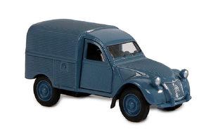 Pull-back Welly Citroën 2CV Fourgonnette - 12cm (grijs/rood/wit/blauw)