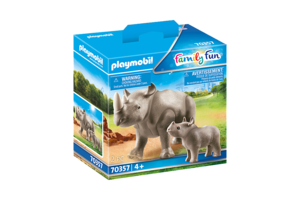 Playmobil PM Family Fun - Neushoorn met baby 70357
