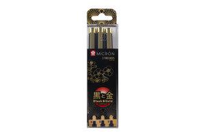 Talens Sakura Pigma Black & Gold Edition Set - 3stuks (zwart)