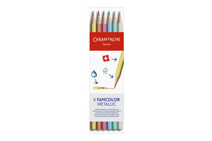 "Caran d'Ache Caran d'Ache Kleurpotlood ""Fancolor"" metallic - 6stuks in karton etui"