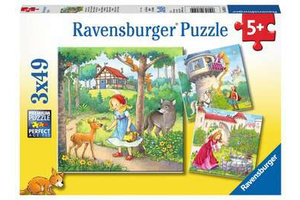 Ravensburger Puzzel (3x49stuks) - Rapunzel, Roodkapje en de Kikkerprins