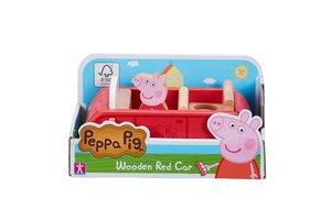 Peppa Pig - Houten familie auto (rood) met Peppa figuur