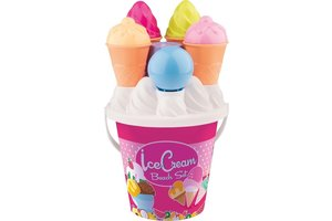 Androni Cup Cake beach set met ijsjesemmer - roos OF blauw