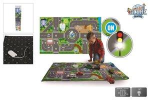 Kids Globe - Vloerkleed verkeer met LED verkeerslichten 72x120cm