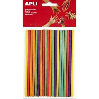 APLI Gekleurde houten prikkers 150x5mm - 25stuks