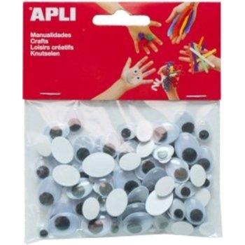 """APLI Bewegende ogen """"Ovaal"""" verschillende afmetingen - 100stuks (zwart)"""
