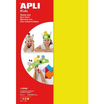 "Apli Apli Kids Schuimrubber ""FLUO"" A4 (4 vellen) - geel/oranje/roze/groen"
