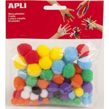 Apli APLI Pompons verschillende afmetingen - 78stuks (assorti)