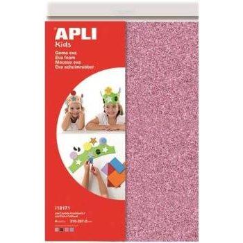 "Apli APLI Kids Schuimrubber ""GLITTER"" A4 (4 vellen) - roze/blauw/wit/zwart"