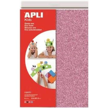 """APLI Kids Schuimrubber """"GLITTER"""" A4 (4 vellen) - roze/blauw/wit/zwart"""