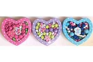 Au Sycomore Doosje in hartvorm met houten parels - 1 exemplaar