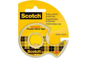 Scotch Scotch Plakband (dubbelzijdig) 12mm x 6,3m + afroller