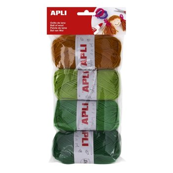 Apli Apli Kids Wol 4x50gr - assorti groene tinten