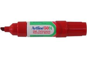 "Artline Artline Permanente Marker ""50N"" schuine punt, lijndikte 3-6mm - rood"