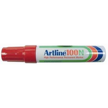"Artin Artline Permanente Marker ""100N"" schuine punt, lijndikte 7.5-12mm - rood"