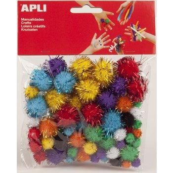 "Apli APLI CREA Pompons ""glitter"" - assorti kleuren 78stuks"