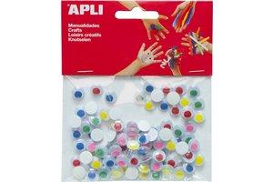 """Apli APLI Bewegende ogen """"Rond"""" met gekleurde pupillen - 100stuks"""