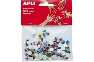 """Apli APLI Bewegende ogen """"Rond"""" met gekleurde wimpers - 100stuks"""