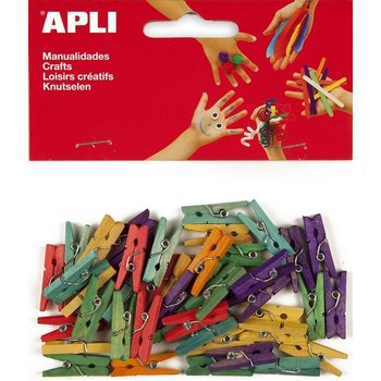 Apli APLI Crea Mini gekleurde houten wasknijpers 25x3mm - 45stuks
