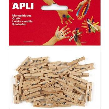 Apli APLI Mini naturele houten wasknijpers 25x3mm - 45stuks