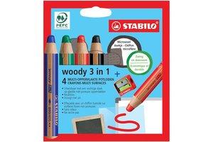 Stabilo Stabilo Woody 3-in-1 kleurpotloden - Etui (karton) 4stuks + slijper + doekje