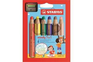 Stabilo Stabilo Woody 3-in-1 kleurpotloden - Etui (karton) 6stuks + slijper