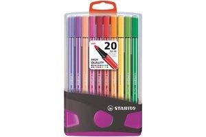 Stabilo Stabilo Pen 68 ColorParade - Box 20stuks (antraciet/lila)