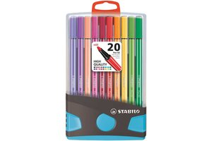Stabilo Stabilo Pen 68 ColorParade - Box 20stuks (antraciet/lichtblauw)