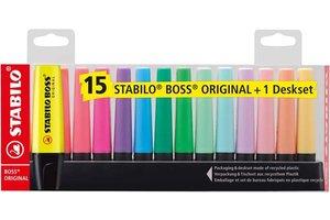 Stabilo Stabilo BOSS Original - Deskset 15stuks (9 x fluo/6 x pastel)