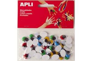 """Apli APLI Bewegende ogen """"Ovaal"""" met gekleurde wimpers - 40stuks"""