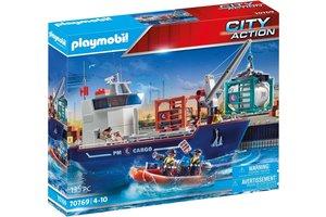 Playmobil PM City Action Cargo - Groot containerschip met douaneboot 70769
