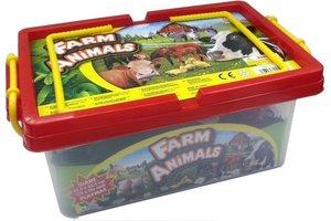 Boerderijdieren (35stuks) met plastic speelmat in box