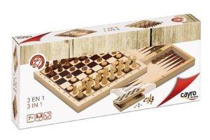 Cayro Set 3 spellen in 1 (Schaak, dammen & backgammon)