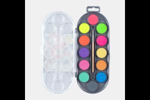 Bruynzeel Bruynzeel Kids Waterverfdoos met 12 kleuren + 1 penseel - Neon/Metallic
