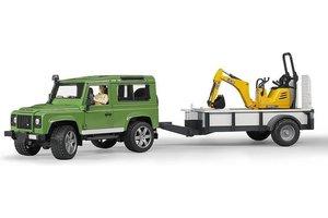 Bruder Land Rover Defender met aanhanger + JCB Mini-graafmachine