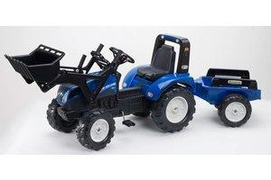 Falk Traktor New Holland T8 met frontlader en aanhanger