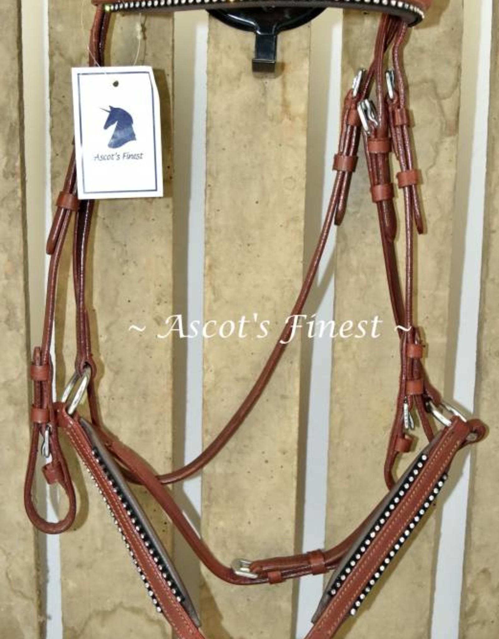 Ascot's Finest Bruin mexicaans hoofdstel met strass - Maat Pony