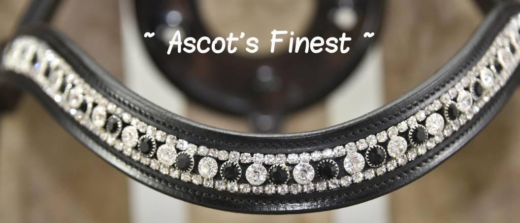 Ascot's Finest Zwart rundleder hoofdstel met kroko-lak - Pony, Cob, Full