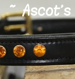 Ascot's Finest Zwart rundleer met oker strass - 60 cm