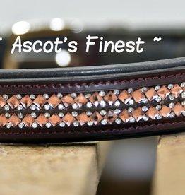 Ascot's Finest Bruin rundleer met roze spiegeltjes - 55, 60 en 65 cm