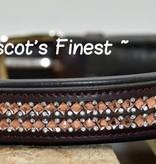 Ascot's Finest Bruin rundleer met roze spiegeltjes - 55 cm 60 cm en 65 cm